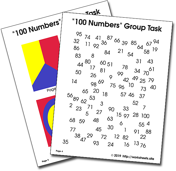 Image: 100 numbers activity sheets