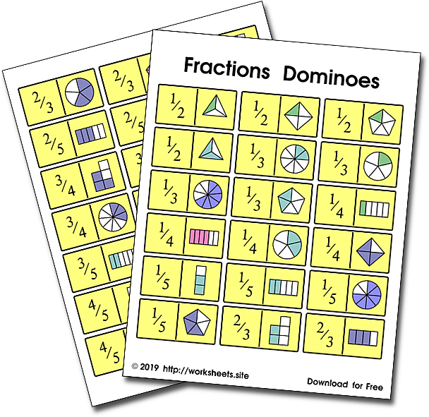 Fractions Dominoes Print Game