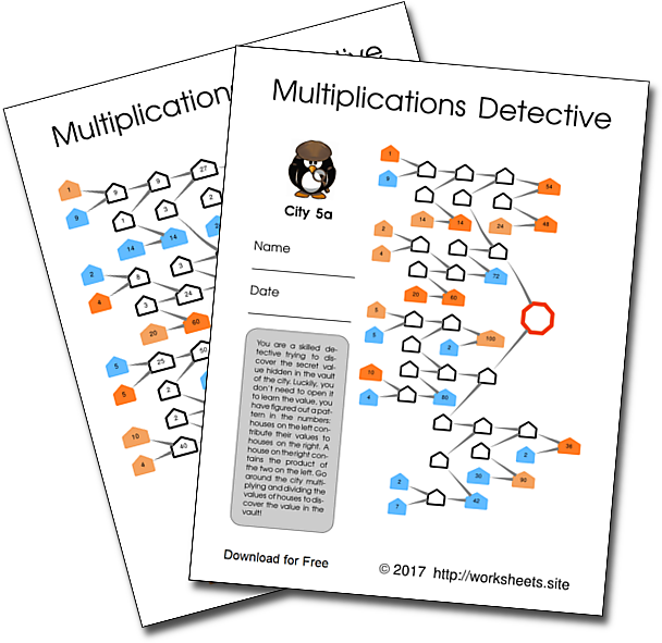 Practice Multiplications with the Multiplications Detective worksheets
